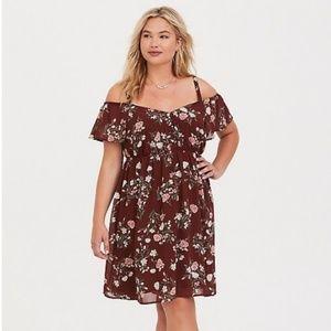 NWT Torrid 4 brown floral coldshoulder dress